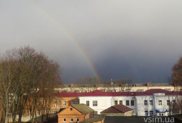 Фото дня: на кілька хвилин після дощу у Хмельницькому з'явилась веселка