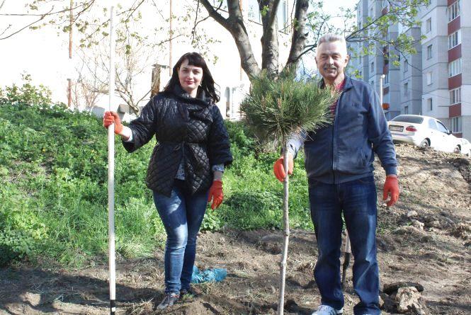 Чиновники взялись за лопати і висадили 150 дерев на Інститутській