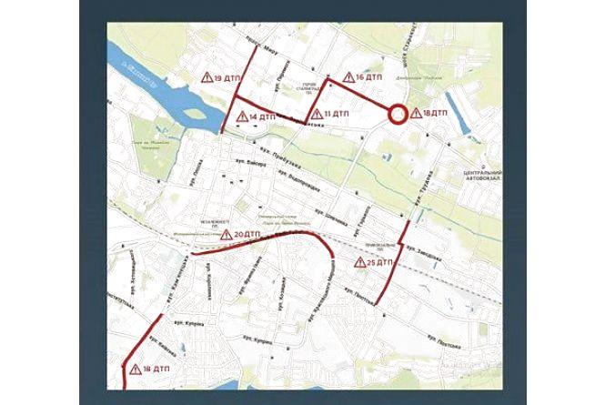 7 аварій щодня: на яких вулицях  Хмельницького найчастіше стаються ДТП