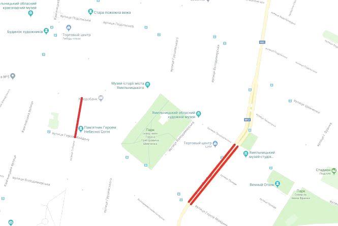 У п'ятницю, 20 липня, перекриють дві вулиці у центрі Хмельницького