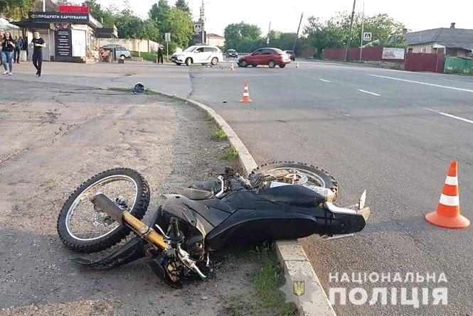 На Кам'янецькій Lanos зіткнувся з мотоциклом (ФОТО, ВІДЕО)