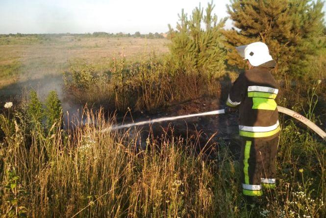У Славутському районі загорілася суха трава