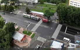 Сильний вітер повалив дерево і електроопору на Виставці. Тролейбуси стали в заторі